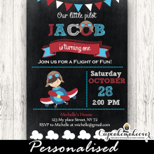 Little Pilot airplane Birthday Invitations chalkboard boy
