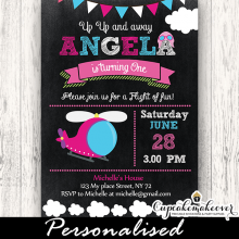 pink helicopter birthday party invitations girl little pilot