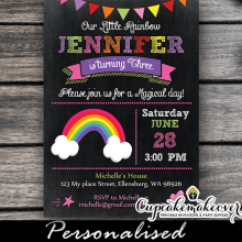 rainbow birthday invitations girls party ideas cute bunting chalkboard