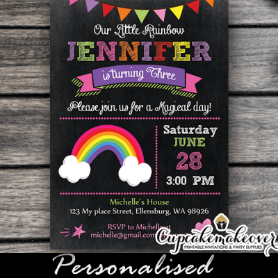 rainbow birthday invitations girls party ideas cute bunting chalkboard