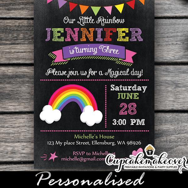 Chalkboard Rainbow Birthday Invitations Personalized