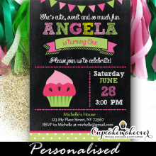 cupcake girl watermelon birthday invitations green pink bunting flags cute 1 2 3 year old
