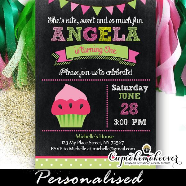 watermelon cupcake chalkboard birthday party invitation