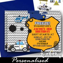 personalize police birthday party invitation diy ideas templates