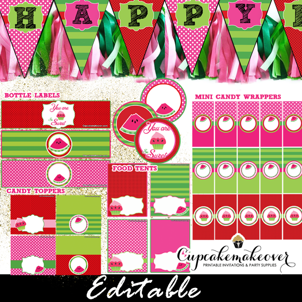 Watermelon Birthday Party Package Instant Download