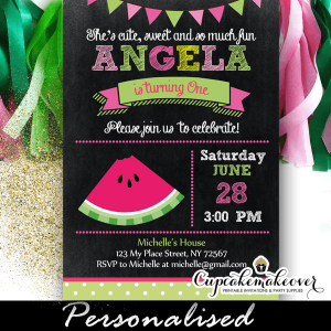 Watermelon First Birthday Invites One In A Melon 1 2 3 Year Old Girl Pink Green
