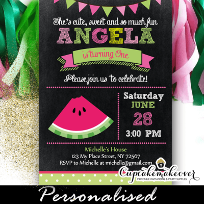 watermelon first birthday invites one in a melon 1 2 3 year old girl pink green cute