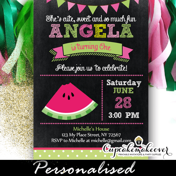 Watermelon Chalkboard Birthday Party Invitation Personalized