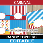 circus big top treat bag labels