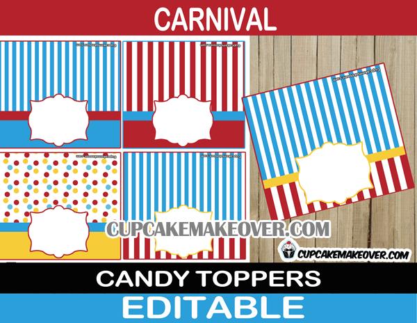 circus big top treat bag labels