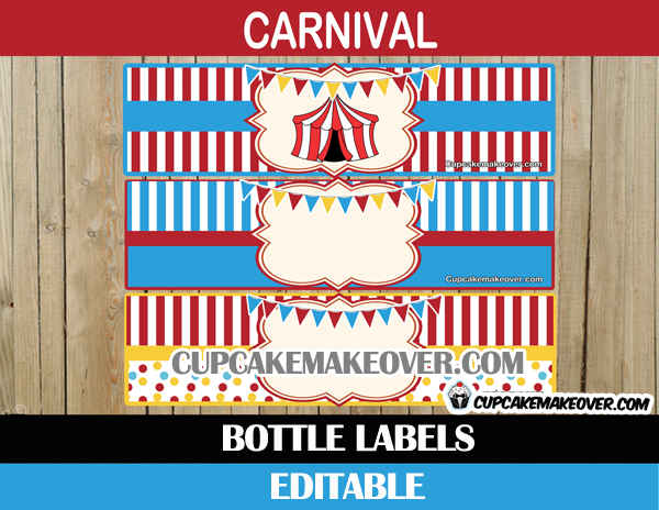 editable circus bottle labels