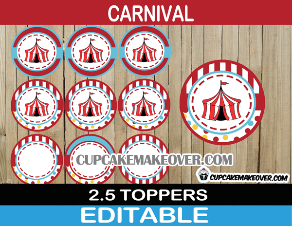 big top decorations circus cake toppers