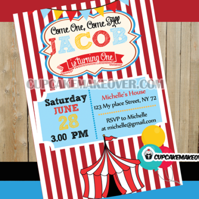 circus birthday invitation card