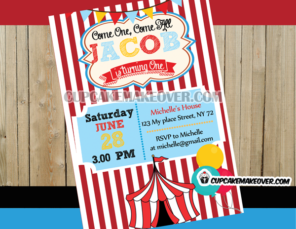Big Top Circus Birthday Party Invitation Personalized