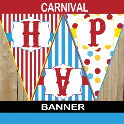 big top birthday pennant banner
