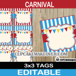 editable circus favor tags thank you labels