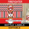 dalmatian fireman firetruck bottle labels