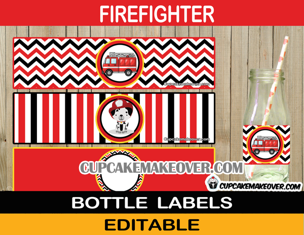 dalmatian fireman firetruck bottle labels