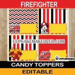 dalmatian fire truck editable favor bag labels