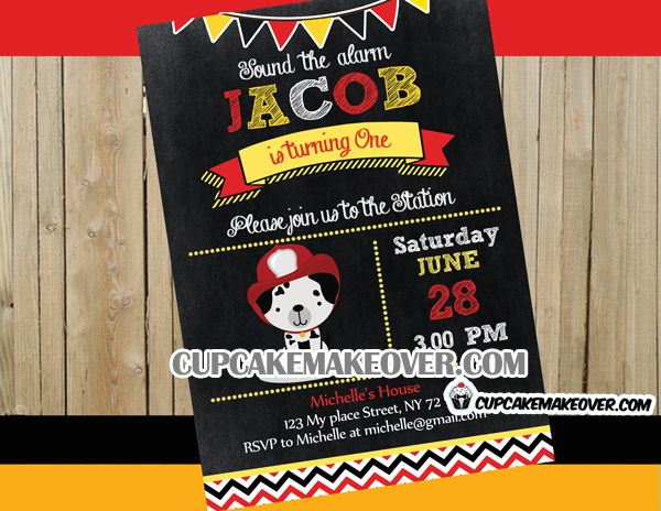 dalmatian firefighter chalkboard invitation card