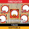 editable firefighter fire truck labels