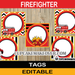 editable firefighter fire truck labels
