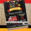 chalkboard fire truck invitation