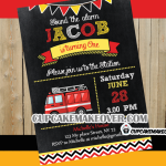 chalkboard fire truck invitation