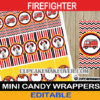 fire truck firefighter candy labels