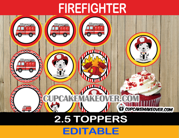 fire truck dalmatian firefighter cupcake decorations
