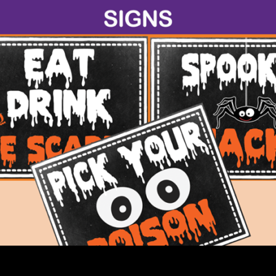 scary Halloween party signs