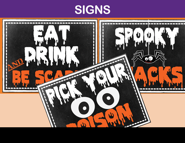 picture about Halloween Signs Printable called Halloween Social gathering Signs and symptoms, Printable and Editable - Prompt