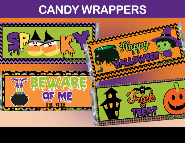 cute spooky witch candy bar wrappers