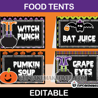 editable halloween party food labels