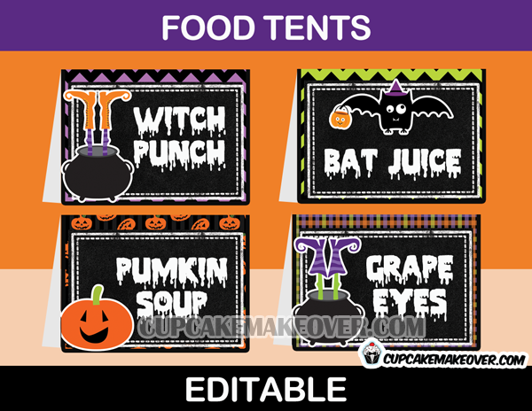 halloween food tents buffet cards instant download. Black Bedroom Furniture Sets. Home Design Ideas