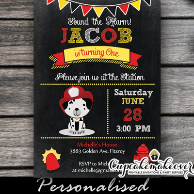 fireman dalmatian dog party invitations