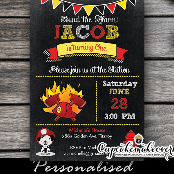 Chalkboard Firefighter Birthday Party Invitation Personalized