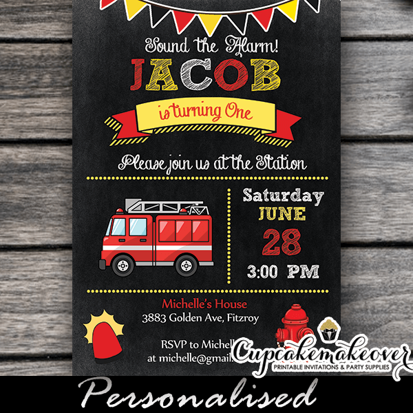 Chalkboard Fire Truck Birthday Party Invitation Cupcakemakeover