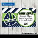 green blue nautical baby shower diaper raffle cards