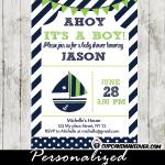 green blue sailboat nautical baby shower invitation boys
