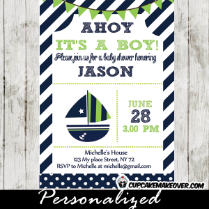 green blue sailboat nautical baby shower invitation boys