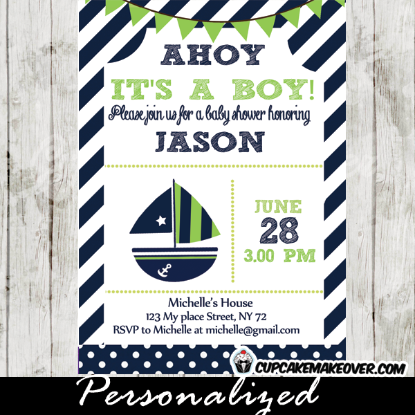 Green And Blue Nautical Baby Shower Invitation