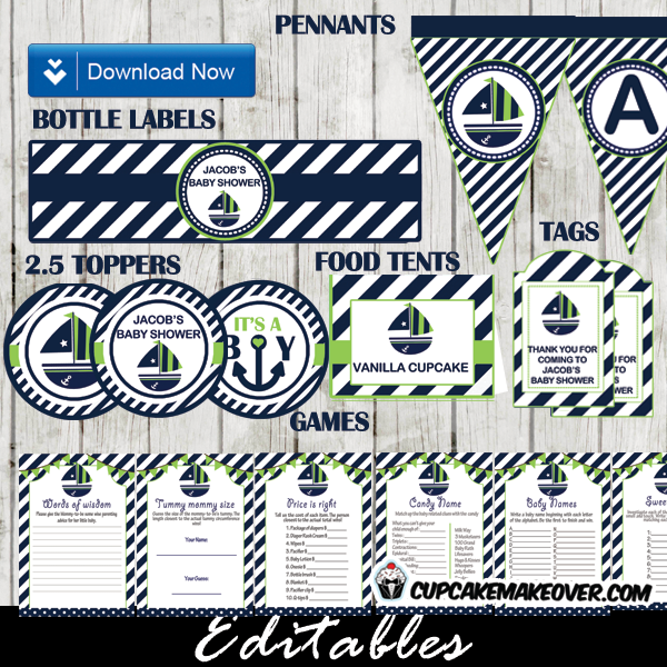 green blue nautical baby shower package boy