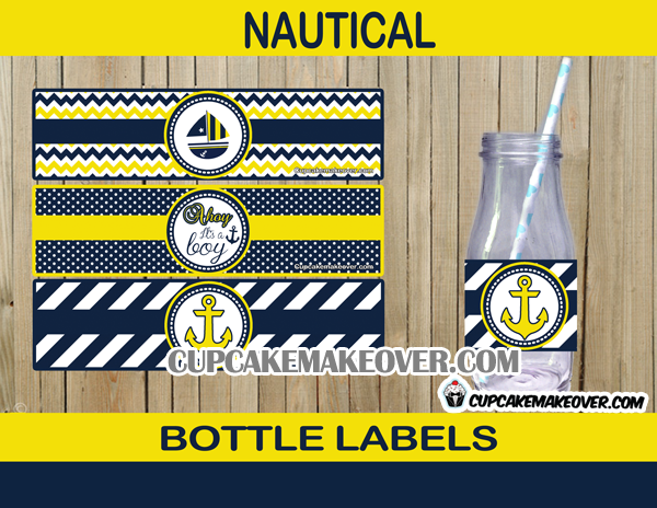Yellow And Blue Nautical Baby Shower Package Instant