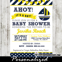 printable yellow blue sailboat nautical baby shower invitation