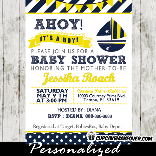 photograph regarding Nautical Baby Shower Invitations Printable identify Exclusive Nautical Boy or girl Shower Invites Printable #JW33