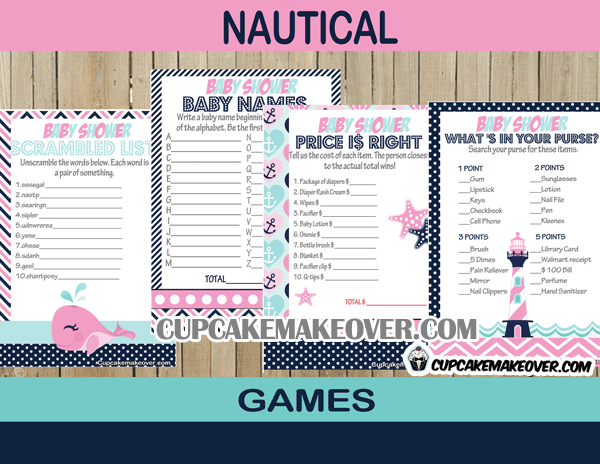113 pink nautical baby shower games