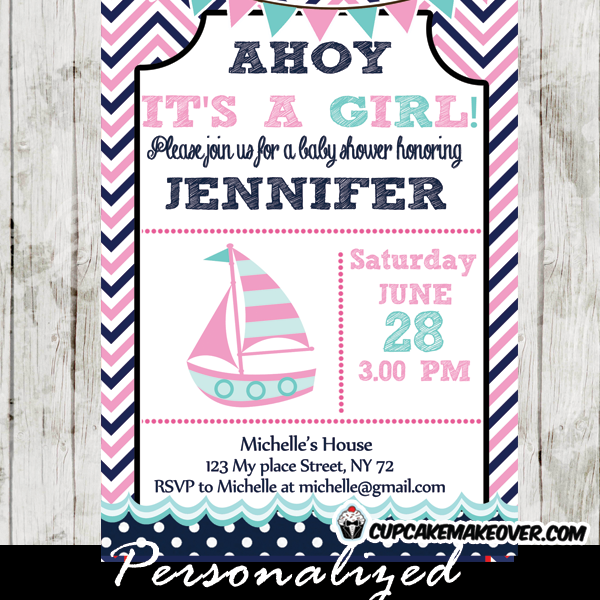 pink navy sailboat nautical baby shower invitation
