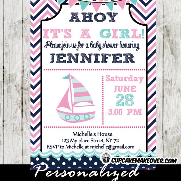 Blue Nautical Baby Shower Invitation