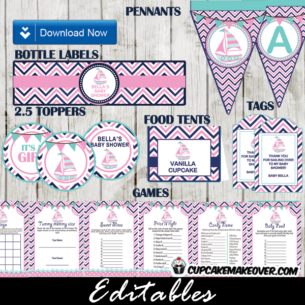 pink sail boat baby shower package printables diy
